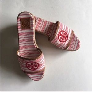 Tory Burch Red & White Wedges